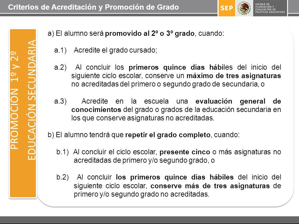 PROMOCIÓN 1º y 2º EDUCACIÓN SECUNDARIA a) El alumno será promovido al 2º o 3º grado, cuando: a.1) Acredite el grado cursado; a.2) Al concluir los prim