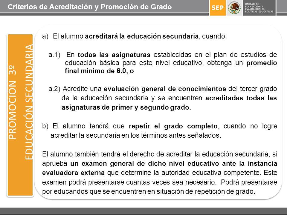 PROMOCIÓN 3º EDUCACIÓN SECUNDARIA a)El alumno acreditará la educación secundaria, cuando: a.1) En todas las asignaturas establecidas en el plan de est