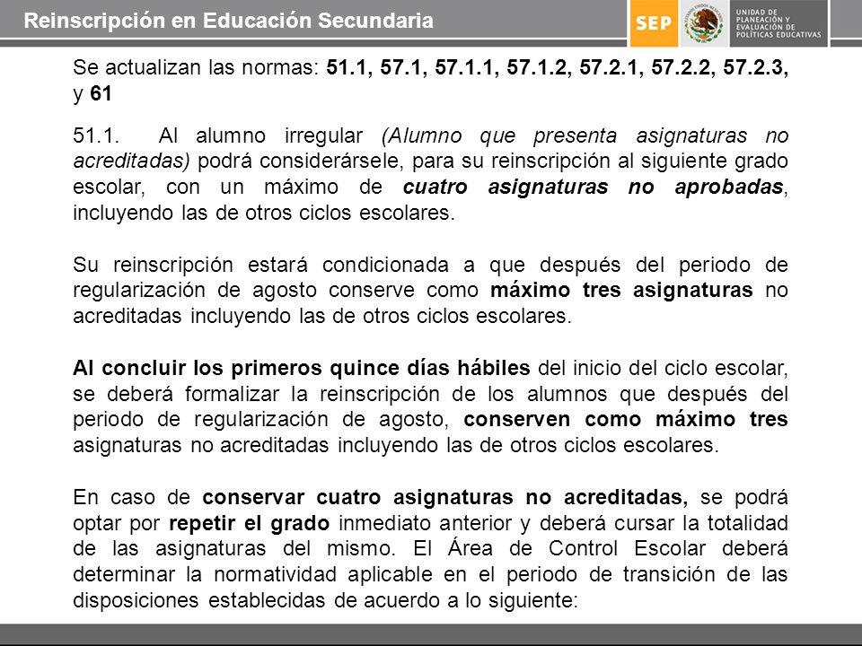 Se actualizan las normas: 51.1, 57.1, 57.1.1, 57.1.2, 57.2.1, 57.2.2, 57.2.3, y 61 51.1. Al alumno irregular (Alumno que presenta asignaturas no acred