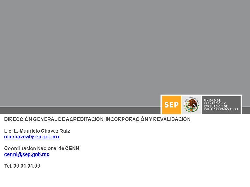 DIRECCIÓN GENERAL DE ACREDITACIÓN, INCORPORACIÓN Y REVALIDACIÓN Lic. L. Mauricio Chávez Ruiz machavez@sep.gob.mx Coordinación Nacional de CENNI cenni@