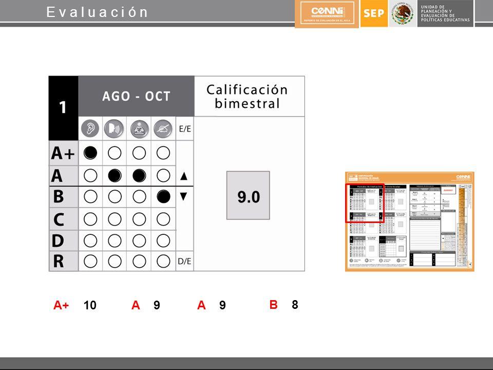 A+ 10 E v a l u a c i ó n A 9 B 8 9.0