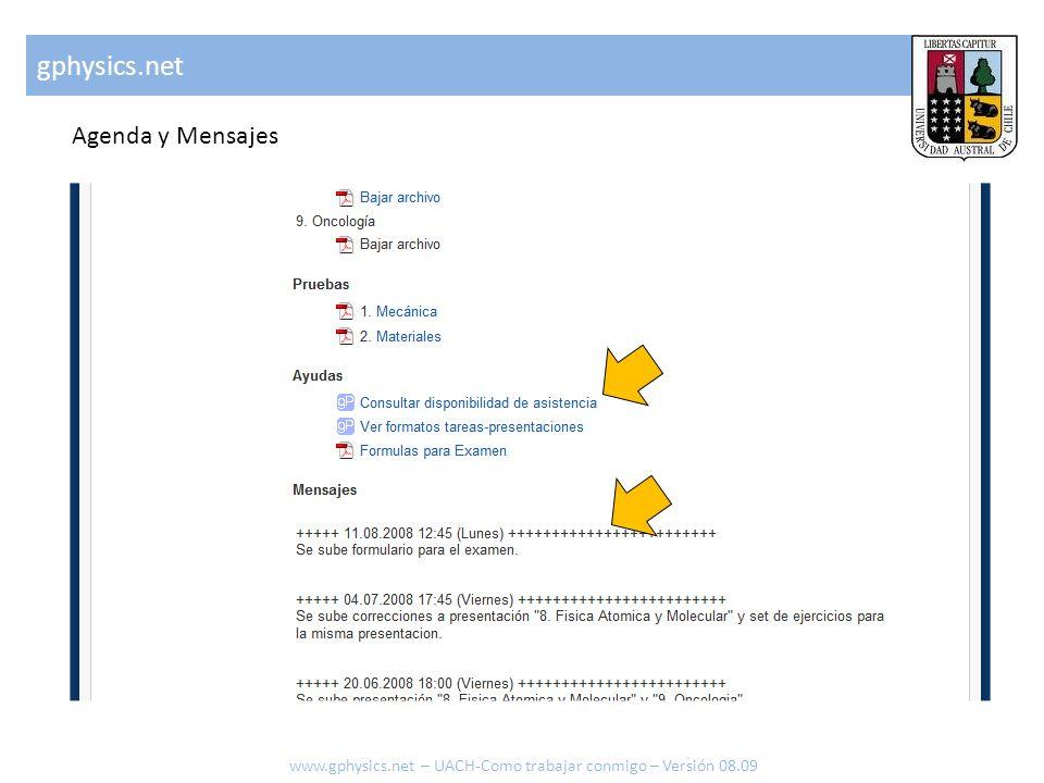 gphysics.net Agenda y Mensajes www.gphysics.net – UACH-Como trabajar conmigo – Versión 08.09