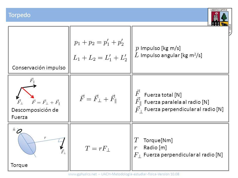 Torpedo www.gphysics.net – UACH-Metodologia-estudiar-fisica-Version 10.08 Conservación impulso Descomposición de Fuerza Fuerza total [N] Fuerza parale