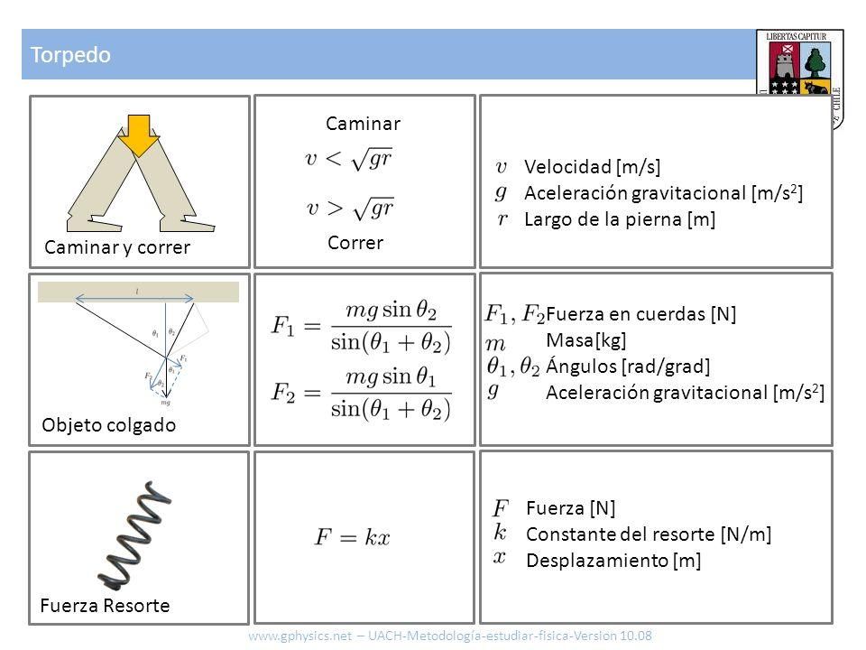Torpedo www.gphysics.net – UACH-Metodología-estudiar-fisica-Version 10.08 Caminar y correr Objeto colgado Fuerza en cuerdas [N] Masa[kg] Ángulos [rad/