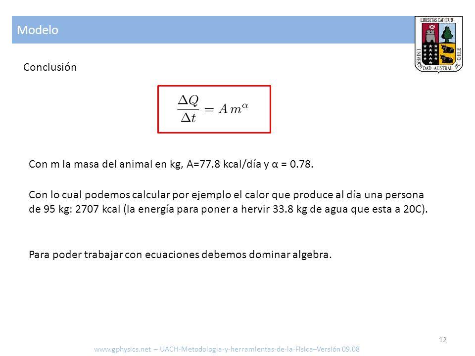 Modelo Conclusión Con lo cual podemos calcular por ejemplo el calor que produce al día una persona de 95 kg: 2707 kcal (la energía para poner a hervir