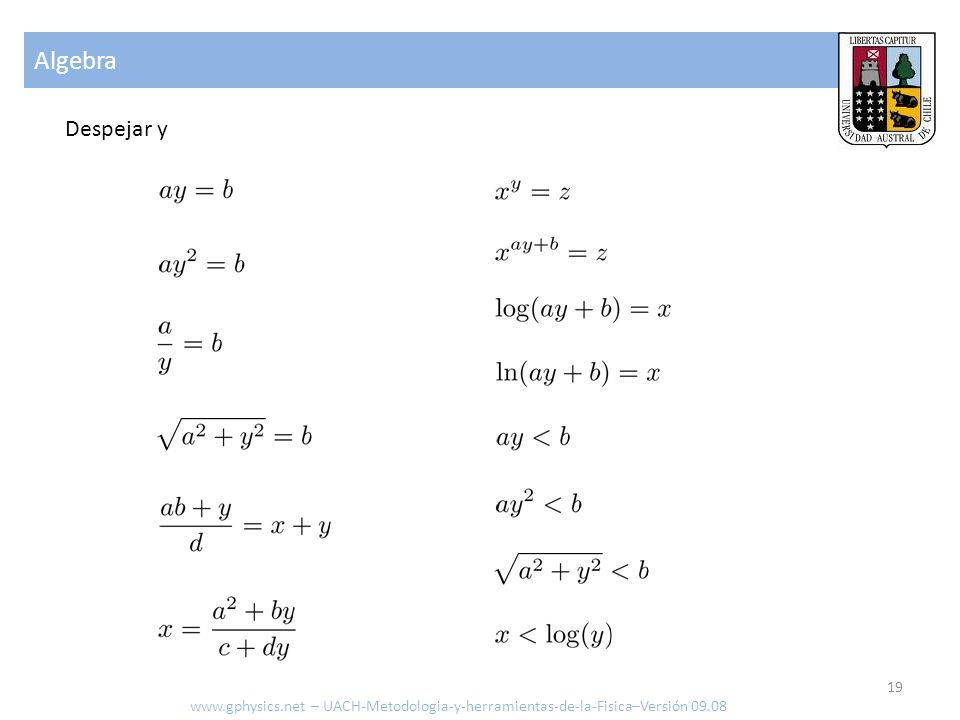 Algebra www.gphysics.net – UACH-Metodologia-y-herramientas-de-la-Fisica–Versión 09.08 Despejar y 19