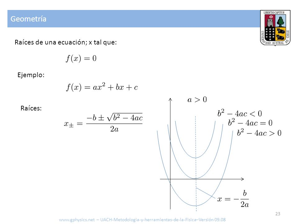 Geometría Raíces de una ecuación; x tal que: Ejemplo: Raíces: www.gphysics.net – UACH-Metodologia-y-herramientas-de-la-Fisica–Versión 09.08 23