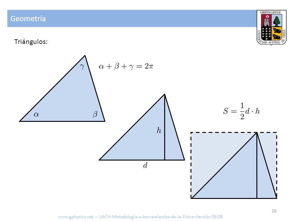 Geometría Triángulos: www.gphysics.net – UACH-Metodologia-y-herramientas-de-la-Fisica–Versión 09.08 26