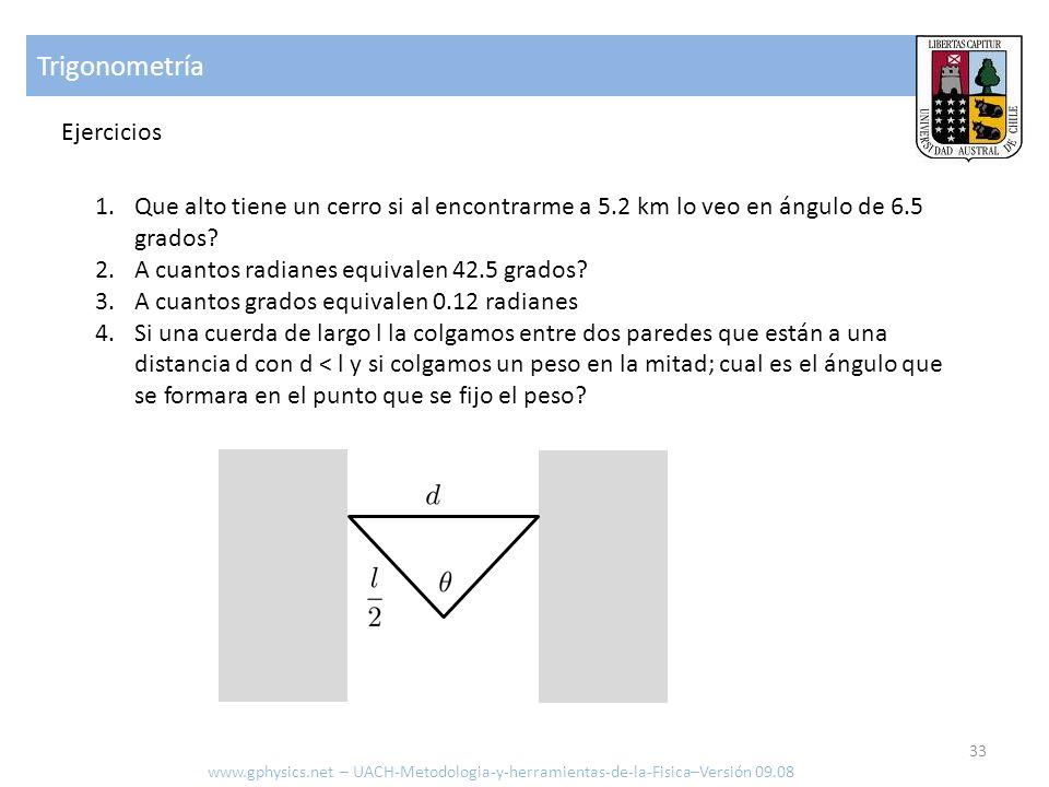 Trigonometría Ejercicios www.gphysics.net – UACH-Metodologia-y-herramientas-de-la-Fisica–Versión 09.08 1.Que alto tiene un cerro si al encontrarme a 5