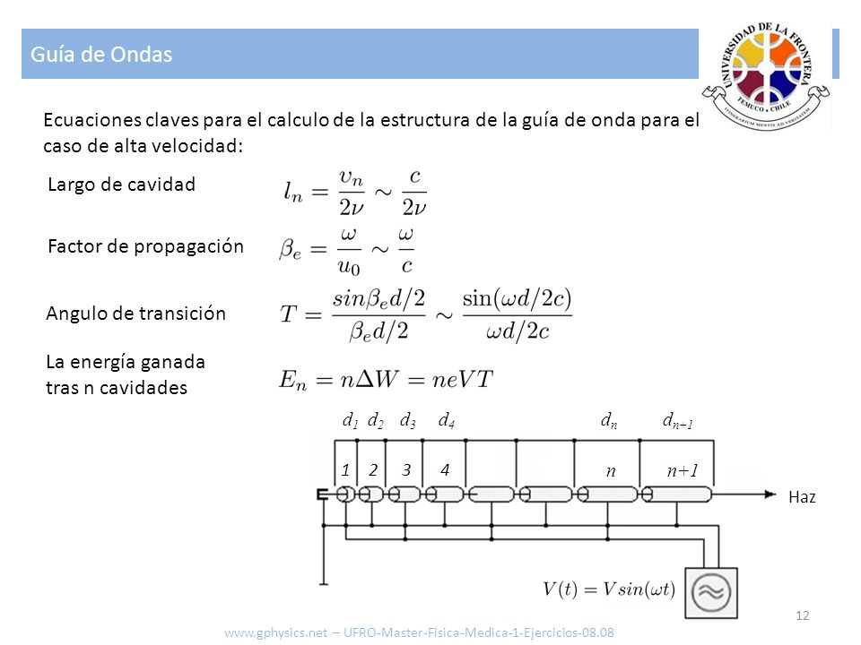 Guía de Ondas 12 Ecuaciones claves para el calculo de la estructura de la guía de onda para el caso de alta velocidad: Angulo de transición La energía