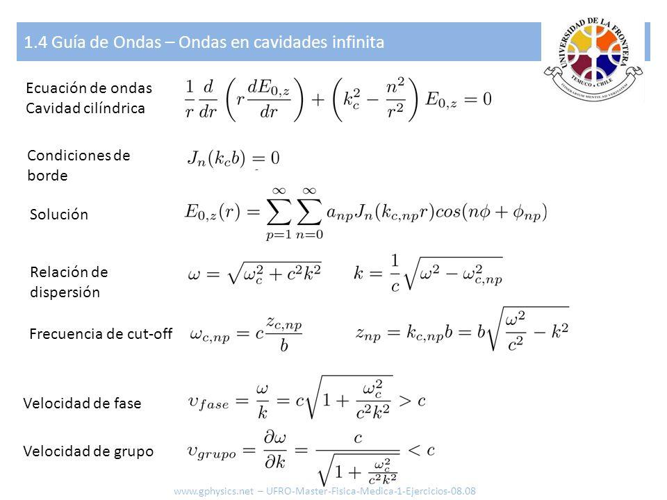 1.4 Guía de Ondas – Ondas en cavidades infinita Ecuación de ondas Cavidad cilíndrica Condiciones de borde Solución Velocidad de fase Velocidad de grup