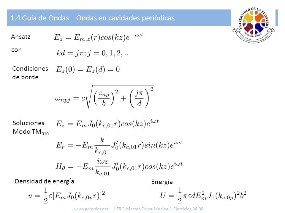 1.4 Guía de Ondas – Ondas en cavidades periódicas Ansatz Condiciones de borde con Soluciones Modo TM 010 www.gphysics.net – UFRO-Master-Fisica-Medica-