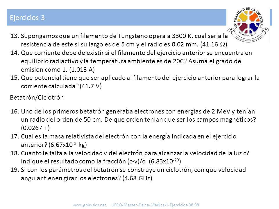 Ejercicios 3 13.Supongamos que un filamento de Tungsteno opera a 3300 K, cual seria la resistencia de este si su largo es de 5 cm y el radio es 0.02 m
