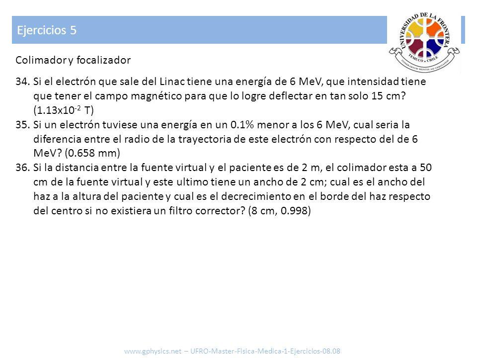 Ejercicios 5 34.Si el electrón que sale del Linac tiene una energía de 6 MeV, que intensidad tiene que tener el campo magnético para que lo logre defl
