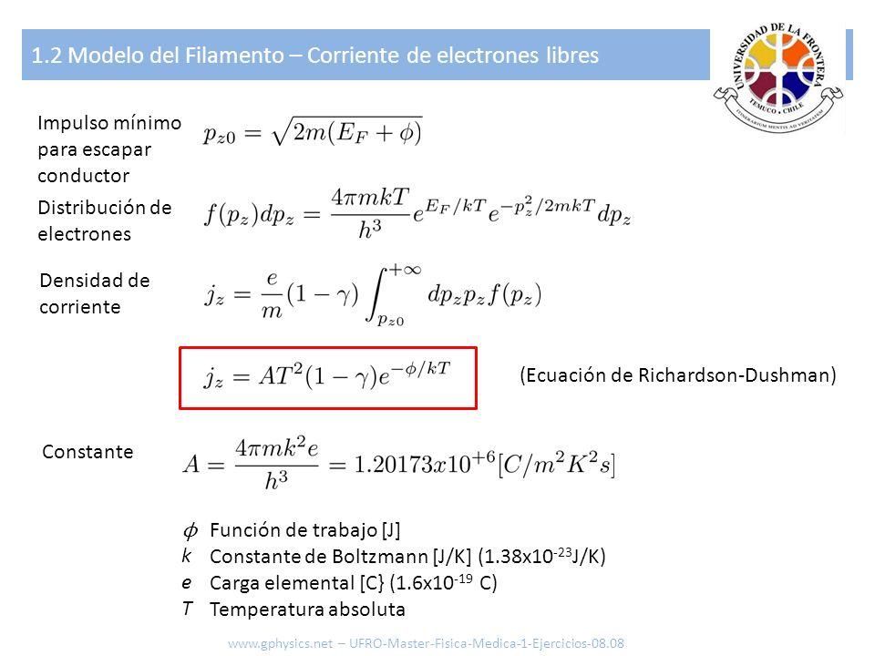 1.3 Emitir Rayos Gamma y Partículas - Child-Langmuir cátodo ánodo Flujo de electrones [1/m 2 ] Potencial entre Placas [V] Velocidad de los Electrones [m/s] Distribución de Electrones [-] Energía del Electrón [J o eV] *** Para j inferior al j calculado con la ecuación de Richardson-Dushman (efecto saturación) *** Constante de campo 8.85x10 -12 C 2 /N m 2 ε0ε0 www.gphysics.net – UFRO-Master-Fisica-Medica-1-Ejercicios-08.08