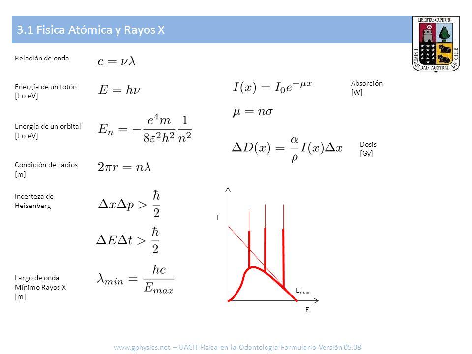 3.1 Fisica Atómica y Rayos X www.gphysics.net – UACH-Fisica-en-la-Odontologia-Formulario-Versión 05.08 Relación de onda Energía de un fotón [J o eV] E