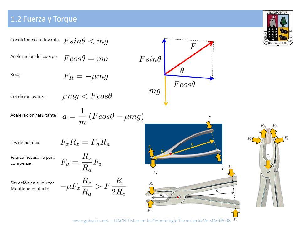 1.2 Fuerza y Torque www.gphysics.net – UACH-Fisica-en-la-Odontologia-Formulario-Versión 05.08 Condición no se levanta Aceleración del cuerpo Roce Cond