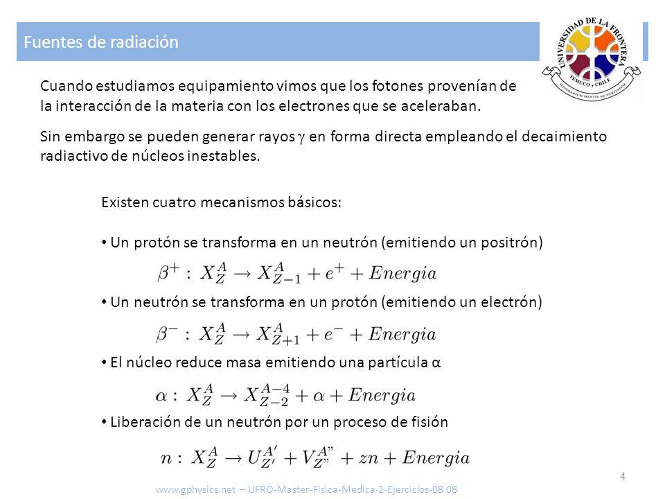Fuentes de radiación 5 Ley de decaimiento: Actividad de la muestra [Bq=1/s] Numero de núcleos [-] Tiempo medio de vida [s] Constante de decaimiento [1/s] ANTλANTλ Unidad Bq: 1 Bequerel Unidad antigua: 1 Ci (Curie) Conversión: 37 mCi = 1 MBq 1 Ci = 3.7×10 10 1/s www.gphysics.net – UFRO-Master-Fisica-Medica-2-Ejercicios-08.08