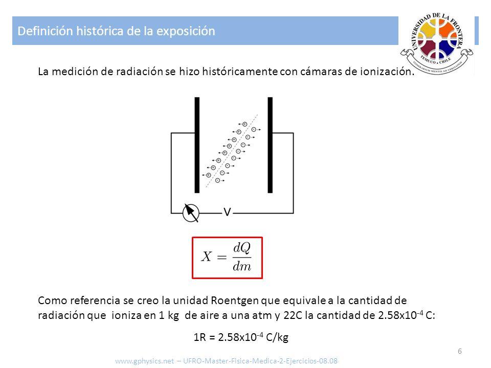 Exposición 7 La relación entre actividad y la exposición es: Elemento Γ 137 Cs3.3x10 -4 57 Co1.32x10 -3 22 Na1.20x10 -3 60 Co1.33x10 -3 Exposición [R] Actividad [R] Distancia [m] Constante de exposición [R m 2 ] XAdΓXAdΓ www.gphysics.net – UFRO-Master-Fisica-Medica-2-Ejercicios-08.08