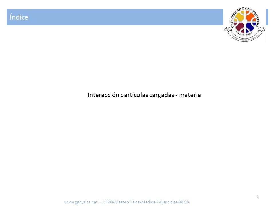 Índice 30 Interacción fotones - materia www.gphysics.net – UFRO-Master-Fisica-Medica-2-Ejercicios-08.08