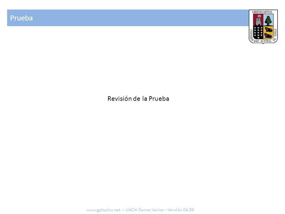 Prueba www.gphysics.net – UACH-Temas Varios – Versión 04.09 Revisión de la Prueba