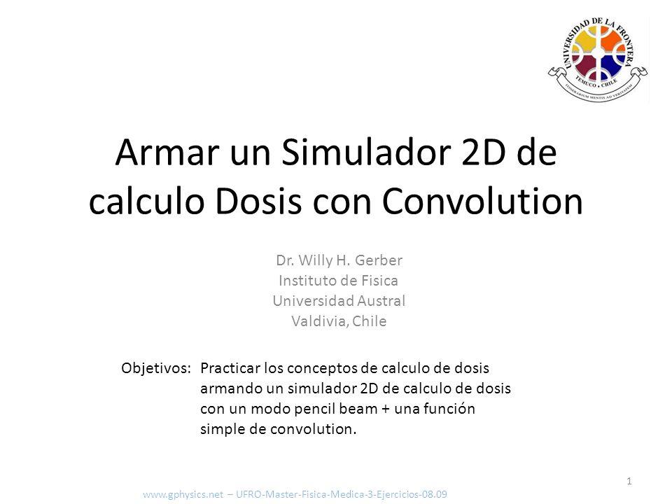 Objetivos: Practicar los conceptos de calculo de dosis armando un simulador 2D de calculo de dosis con un modo pencil beam + una función simple de con