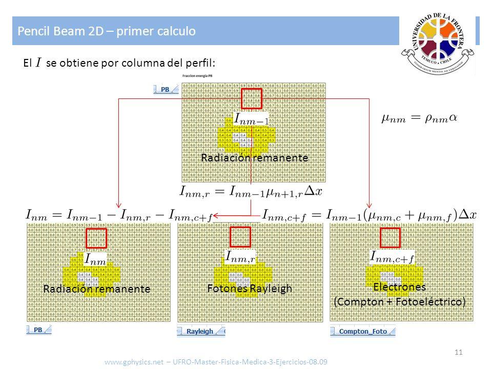 Pencil Beam 2D – primer calculo 11 www.gphysics.net – UFRO-Master-Fisica-Medica-3-Ejercicios-08.09 El se obtiene por columna del perfil: Radiación rem