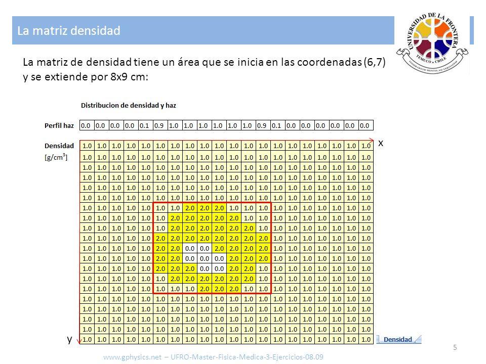 La matriz densidad 5 www.gphysics.net – UFRO-Master-Fisica-Medica-3-Ejercicios-08.09 La matriz de densidad tiene un área que se inicia en las coordena