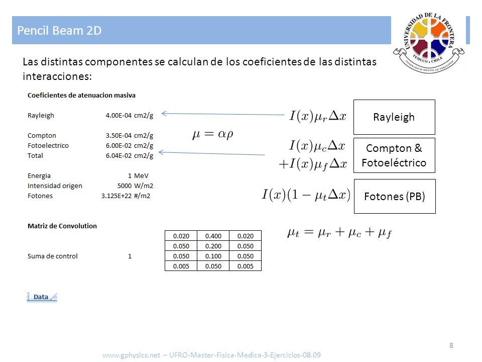 Pencil Beam 2D 8 www.gphysics.net – UFRO-Master-Fisica-Medica-3-Ejercicios-08.09 Las distintas componentes se calculan de los coeficientes de las dist