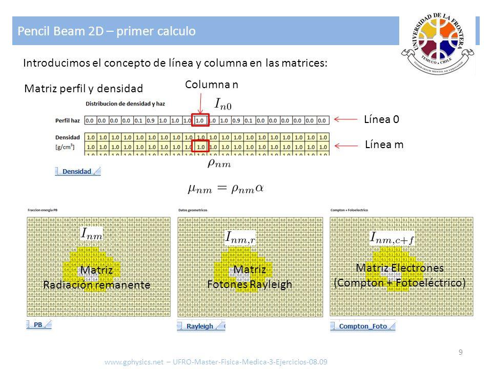 Pencil Beam 2D – primer calculo 9 www.gphysics.net – UFRO-Master-Fisica-Medica-3-Ejercicios-08.09 Introducimos el concepto de línea y columna en las m