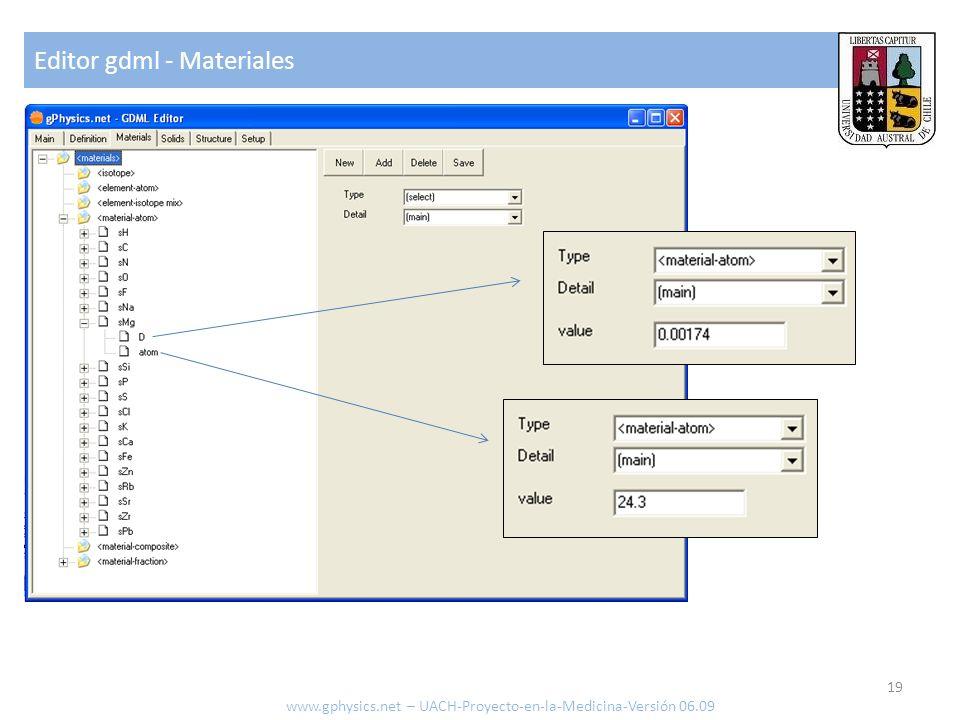Editor gdml - Materiales 19 www.gphysics.net – UACH-Proyecto-en-la-Medicina-Versión 06.09