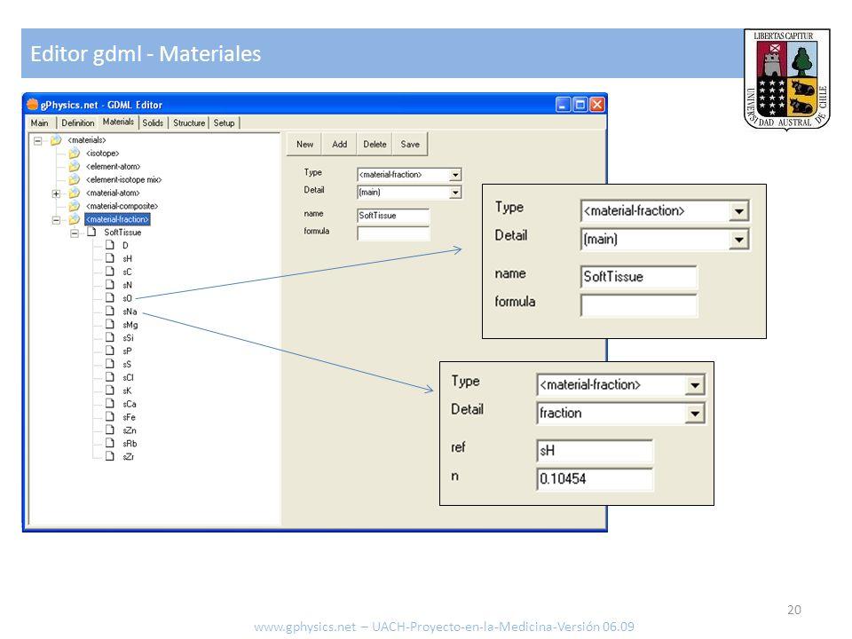 Editor gdml - Materiales 20 www.gphysics.net – UACH-Proyecto-en-la-Medicina-Versión 06.09