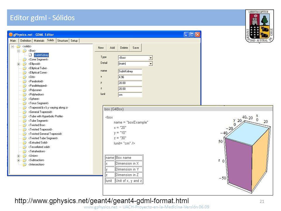 Editor gdml - Sólidos 21 www.gphysics.net – UACH-Proyecto-en-la-Medicina-Versión 06.09 http://www.gphysics.net/geant4/geant4-gdml-format.html