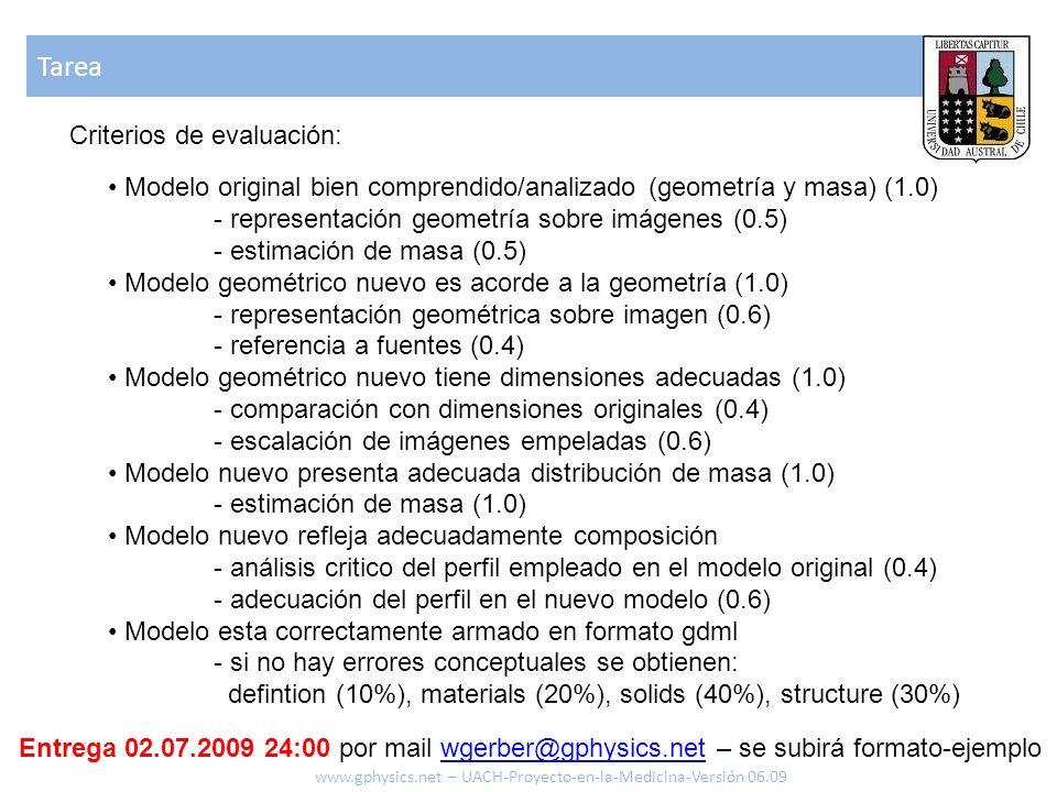 Tarea www.gphysics.net – UACH-Proyecto-en-la-Medicina-Versión 06.09 Criterios de evaluación: Modelo original bien comprendido/analizado (geometría y masa) (1.0) - representación geometría sobre imágenes (0.5) - estimación de masa (0.5) Modelo geométrico nuevo es acorde a la geometría (1.0) - representación geométrica sobre imagen (0.6) - referencia a fuentes (0.4) Modelo geométrico nuevo tiene dimensiones adecuadas (1.0) - comparación con dimensiones originales (0.4) - escalación de imágenes empeladas (0.6) Modelo nuevo presenta adecuada distribución de masa (1.0) - estimación de masa (1.0) Modelo nuevo refleja adecuadamente composición - análisis critico del perfil empleado en el modelo original (0.4) - adecuación del perfil en el nuevo modelo (0.6) Modelo esta correctamente armado en formato gdml - si no hay errores conceptuales se obtienen: defintion (10%), materials (20%), solids (40%), structure (30%) Entrega 02.07.2009 24:00 por mail wgerber@gphysics.net – se subirá formato-ejemplowgerber@gphysics.net