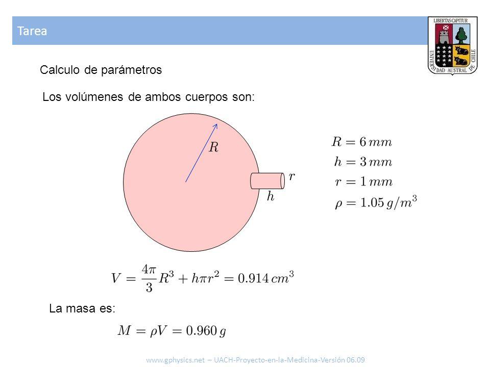 Tarea www.gphysics.net – UACH-Proyecto-en-la-Medicina-Versión 06.09 Calculo de parámetros Los volúmenes de ambos cuerpos son: La masa es: