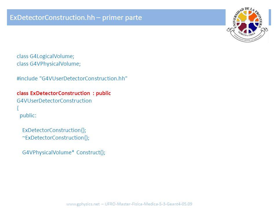 class G4LogicalVolume; class G4VPhysicalVolume; #include G4VUserDetectorConstruction.hh class ExDetectorConstruction : public G4VUserDetectorConstruction { public: ExDetectorConstruction(); ~ExDetectorConstruction(); G4VPhysicalVolume* Construct(); ExDetectorConstruction.hh – primer parte www.gphysics.net – UFRO-Master-Fisica-Medica-5-3-Geant4-05.09
