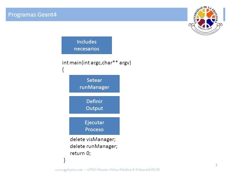 ExDetectorConstruction - demo www.gphysics.net – UFRO-Master-Fisica-Medica-5-3-Geant4-05.09 Elementos G4double density = 1.390*g/cm3; G4double a = 39.95*g/mole; G4Material* lAr = new G4Material(name= liquidArgon , z=18., a, density); G4LogicalVolume* myLbox = new G4LogicalVolume(aBox,lAr, Lbox ,0,0,0); Material (directo) a = 1.01*g/mole; G4Element* elH = new G4Element(name= Hydrogen ,symbol= H , z= 1., a); a = 16.00*g/mole; G4Element* elO = new G4Element(name= Oxygen ,symbol= O , z= 8., a); density = 1.000*g/cm3; G4Material* H2O = new G4Material(name= Water ,density,ncomponents=2); H2O->AddElement(elH, natoms=2); H2O->AddElement(elO, natoms=1); Material (compuesto desde elementos, por numero de elementos)