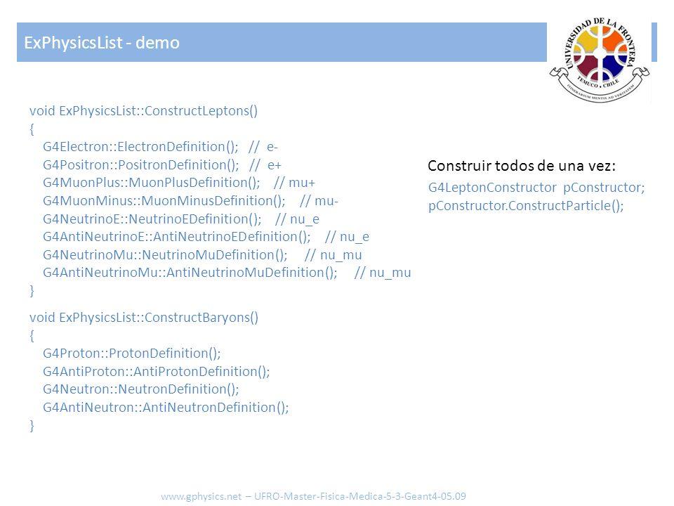 void ExPhysicsList::ConstructLeptons() { G4Electron::ElectronDefinition(); // e- G4Positron::PositronDefinition(); // e+ G4MuonPlus::MuonPlusDefinition(); // mu+ G4MuonMinus::MuonMinusDefinition(); // mu- G4NeutrinoE::NeutrinoEDefinition(); // nu_e G4AntiNeutrinoE::AntiNeutrinoEDefinition(); // nu_e G4NeutrinoMu::NeutrinoMuDefinition(); // nu_mu G4AntiNeutrinoMu::AntiNeutrinoMuDefinition(); // nu_mu } void ExPhysicsList::ConstructBaryons() { G4Proton::ProtonDefinition(); G4AntiProton::AntiProtonDefinition(); G4Neutron::NeutronDefinition(); G4AntiNeutron::AntiNeutronDefinition(); } ExPhysicsList - demo www.gphysics.net – UFRO-Master-Fisica-Medica-5-3-Geant4-05.09 G4LeptonConstructor pConstructor; pConstructor.ConstructParticle(); Construir todos de una vez:
