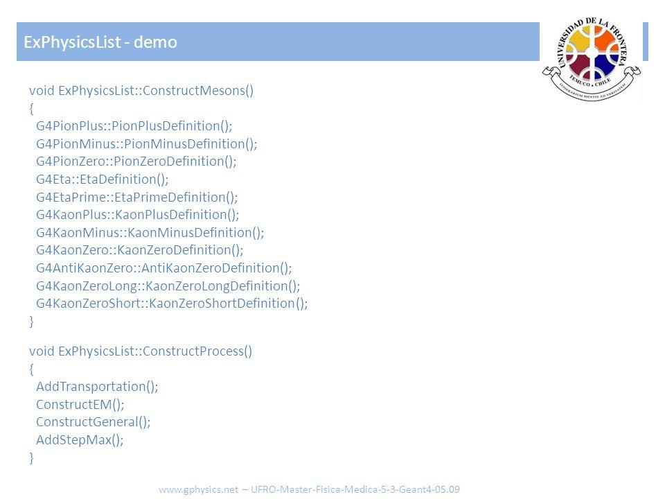 void ExPhysicsList::ConstructMesons() { G4PionPlus::PionPlusDefinition(); G4PionMinus::PionMinusDefinition(); G4PionZero::PionZeroDefinition(); G4Eta: