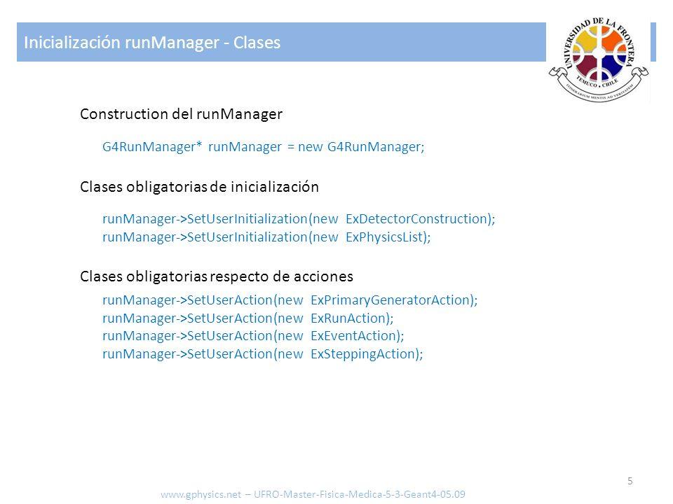Inicializacion runManager 6 www.gphysics.net – UFRO-Master-Fisica-Medica-5-3-Geant4-05.09 Inicializacion el sistema runManager->Initialize(); G4VisManager* visManager = new G4VisExecutive; visManager->Initialize(); G4UImanager* UI = G4UImanager::GetUIpointer(); UI->ApplyCommand( /run/verbose 1 ); UI->ApplyCommand( /event/verbose 1 ); UI->ApplyCommand( /tracking/verbose 1 ); Inicializacion … Inicializacion del Display