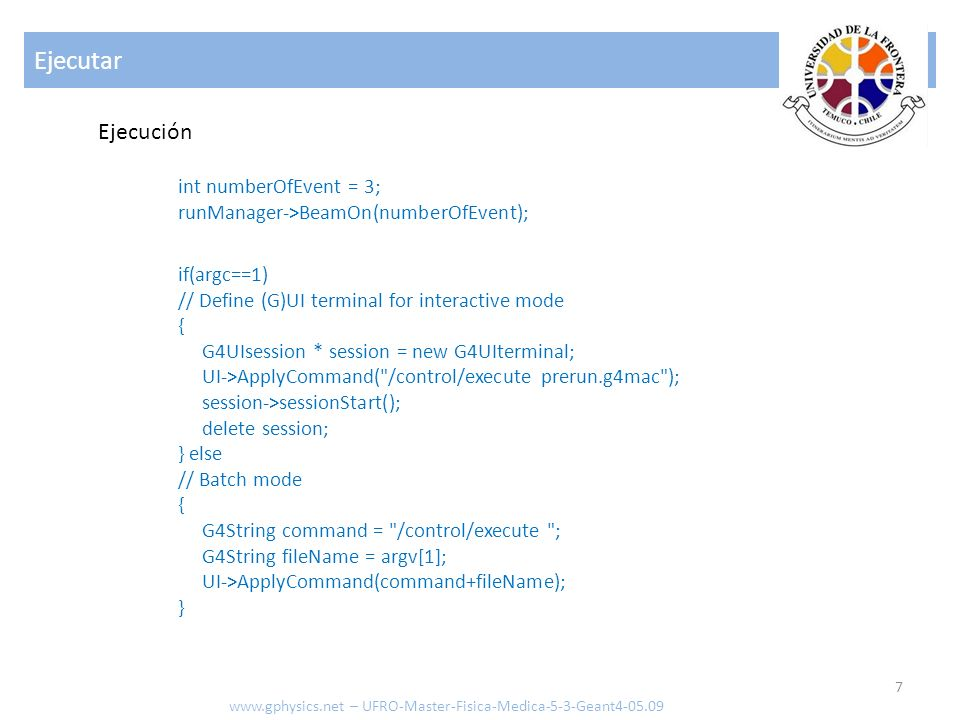 #include ExDetectorConstruction.hh #include G4Material.hh #include G4Box.hh #include G4Tubs.hh #include G4LogicalVolume.hh #include G4ThreeVector.hh #include G4PVPlacement.hh #include globals.hh ExDetectorConstruction::ExDetectorConstruction() : experimentalHall_log(0), tracker_log(0), calorimeterBlock_log(0), calorimeterLayer_log(0), experimentalHall_phys(0), calorimeterLayer_phys(0), calorimeterBlock_phys(0), tracker_phys(0) {;} ExDetectorConstruction::~ExDetectorConstruction() { } ExDetectorConstruction.cc – primera parte www.gphysics.net – UFRO-Master-Fisica-Medica-5-3-Geant4-05.09