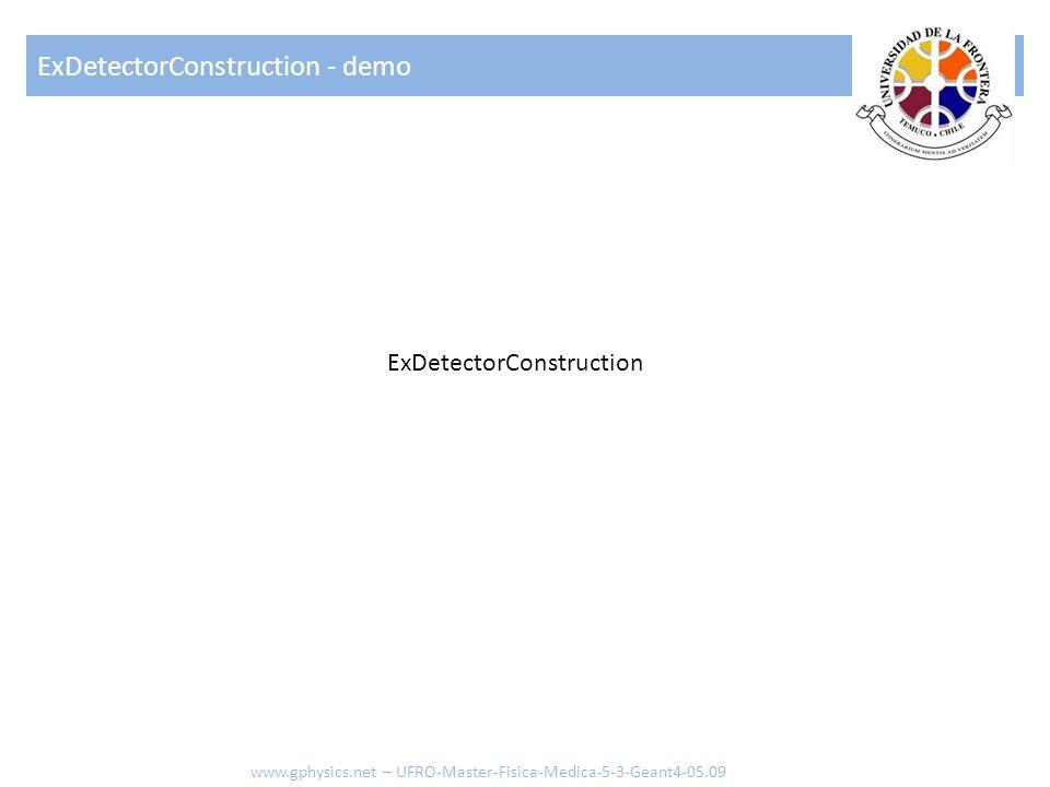 ExDetectorConstruction www.gphysics.net – UFRO-Master-Fisica-Medica-5-3-Geant4-05.09 Crear caja (volumen World) Crear cilindro Crear volumen lógico para caja Crear volumen lógico para cilindro Posicionar cilindro Posicionar caja Lógica de la rutina con solo 2 elementos