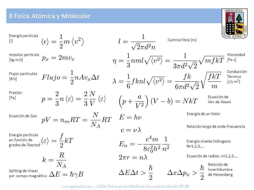 8 Fisica Atómica y Molecular www.gphysics.net – UACH-Fisica-en-la-Medicina-Formulario-Versión 05.08 Energía partícula [J] Impulso partícula [kg m/s] F