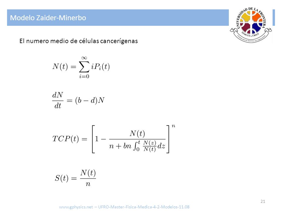 Modelo Zaider-Minerbo 21 www.gphysics.net – UFRO-Master-Fisica-Medica-4-2-Modelos-11.08 El numero medio de células cancerígenas