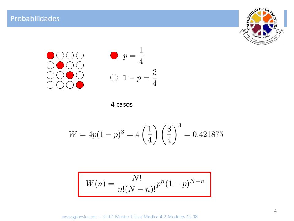 Probabilidades 4 www.gphysics.net – UFRO-Master-Fisica-Medica-4-2-Modelos-11.08 4 casos