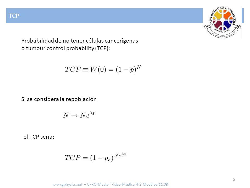 TCP 5 www.gphysics.net – UFRO-Master-Fisica-Medica-4-2-Modelos-11.08 Probabilidad de no tener células cancerígenas o tumour control probability (TCP): Si se considera la repoblación el TCP seria: