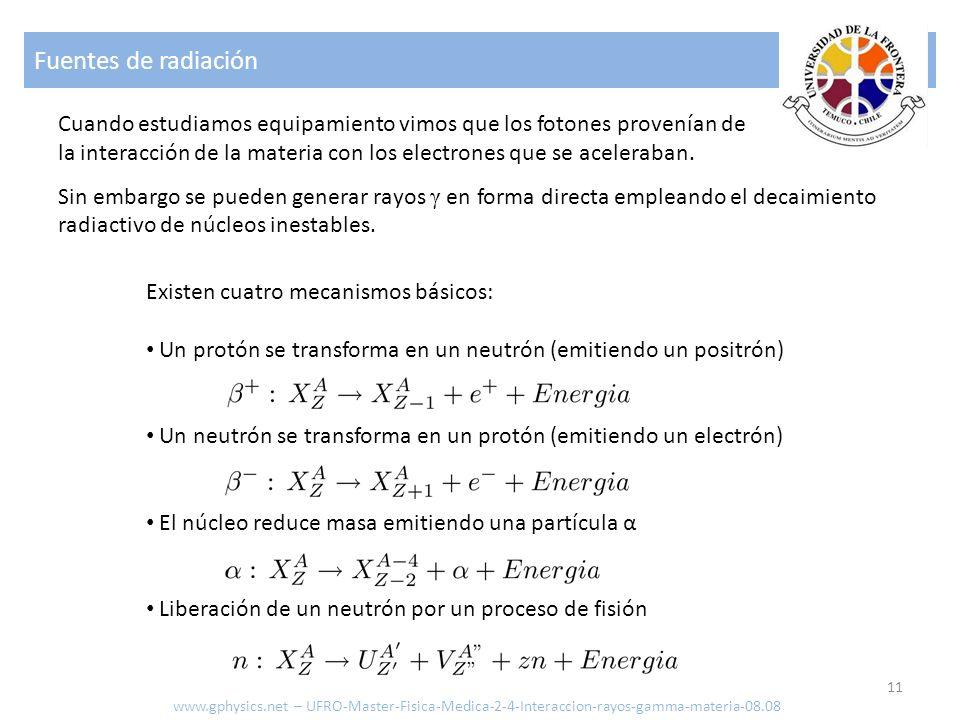 Fuentes de radiación 11 www.gphysics.net – UFRO-Master-Fisica-Medica-2-4-Interaccion-rayos-gamma-materia-08.08 Cuando estudiamos equipamiento vimos que los fotones provenían de la interacción de la materia con los electrones que se aceleraban.