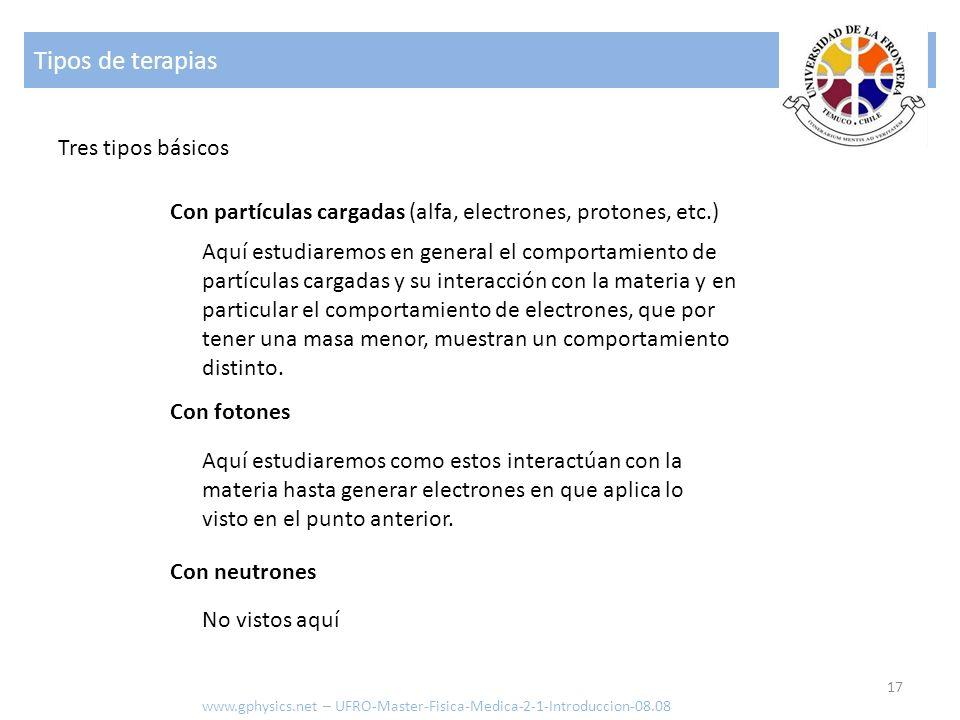 Tipos de terapias 17 www.gphysics.net – UFRO-Master-Fisica-Medica-2-1-Introduccion-08.08 Tres tipos básicos Aquí estudiaremos en general el comportami