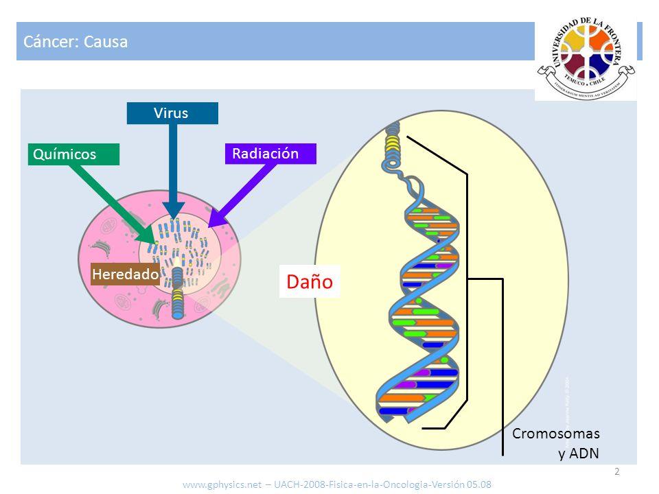Cáncer: Causa 2 www.gphysics.net – UACH-2008-Fisica-en-la-Oncologia-Versión 05.08 Heredado Radiación Químicos Virus Cromosomas y ADN Daño