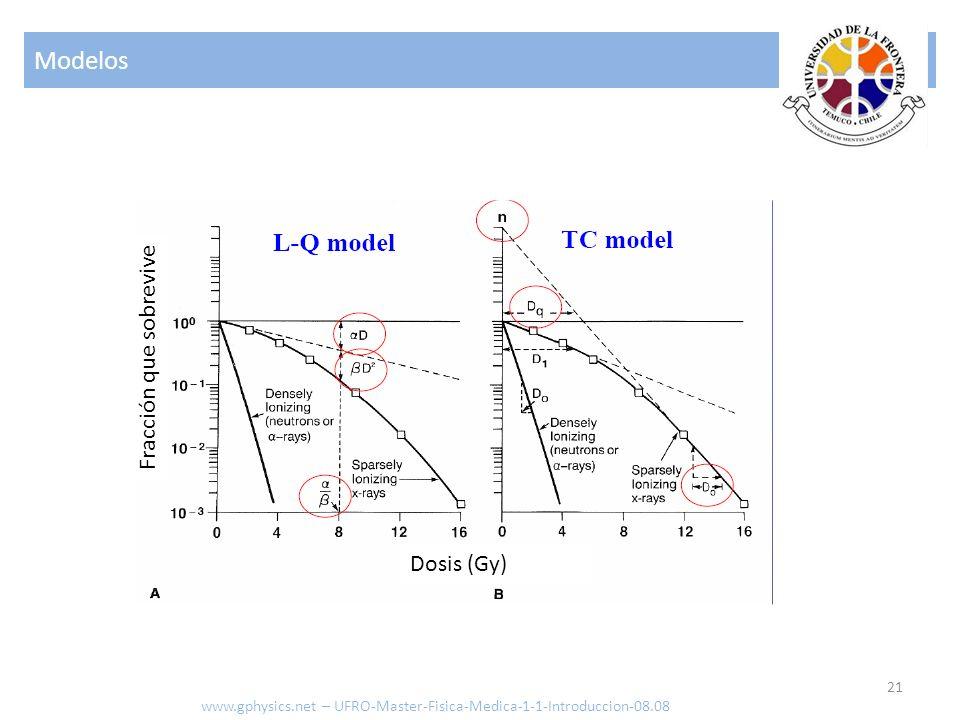 Modelos 21 www.gphysics.net – UFRO-Master-Fisica-Medica-1-1-Introduccion-08.08 Dosis (Gy) Fracción que sobrevive